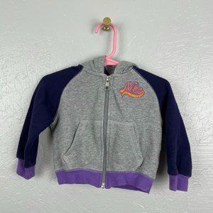 Nike Size 12 Month Gray Blue Purple Hoodie Zip Up